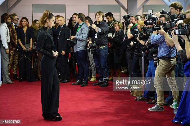 Lena MeyerLandrut attends the Guido Maria Kretschmer show during the MercedesBenz Fashion Week Berlin Autumn/Winter 2015/16 at Brandenburg Gate on...
