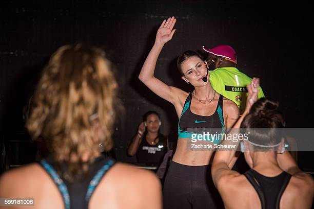 Lena Meyer-Landrut is doing a workout for nike ahead of the Set fashion show during the Bread & Butter by Zalando at arena Berlin on September 4,...