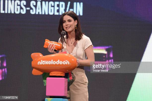 Lena MeyerLandrut is seen on stage at the Nickelodeon Kids Choice Awards on April 4 2019 in Rust Germany