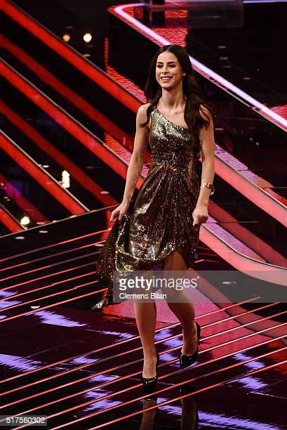 Lena MeyerLandrut is seen on stage during the 'The Voice Kids' Finals on March 25 2016 in Berlin Germany