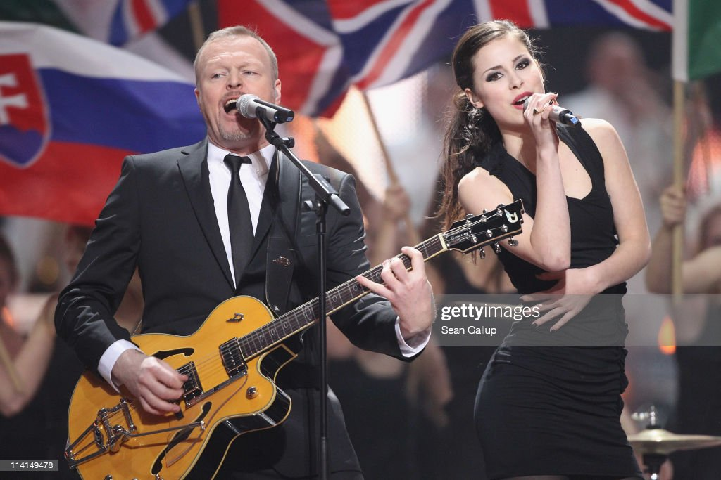 Lena Meyer-Landrut of Germany and co-host Stefan Raab perform during the dress rehearsal ahead of the finals of the 2011 Eurovision Song Contest on May 13, 2011 in Duesseldorf, Germany.