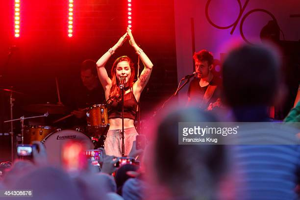 Lena MeyerLandrut performs at the Late Night Shopping Designer Outlet Soltau on August 28 2014 in Soltau Germany