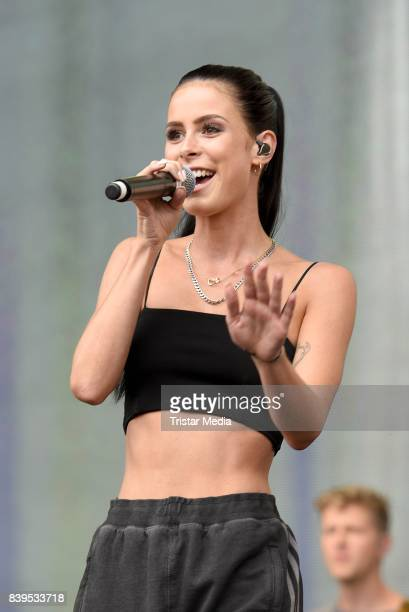 Lena MeyerLandrut performs during the 'Stars for Free' open air festival by 1046 RTL radio station at KindlBuehne Wuhlheide on August 26 2017 in...
