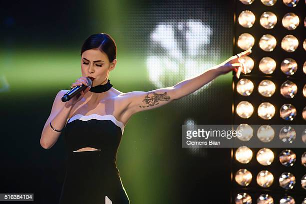 Lena MeyerLandrut performs during the 'The Voice Kids' Semi Finals on March 11 2016 in Berlin Germany
