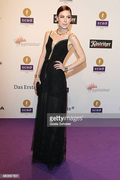 Lena MeyerLandrut poses on the red carpet prior the Echo award 2014 at Messe Berlin on March 27 2014 in Berlin Germany