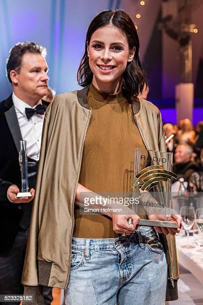 Lena MeyerLandrut poses with her award at the Radio Regenbogen Award 2016 at Europapark on April 22 2016 in Rust Germany