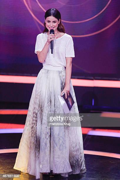 Lena MeyerLandrut wearing an outfit by HM Conscious Exclusive attends the Echo Award 2015 show on March 26 2015 in Berlin Germany