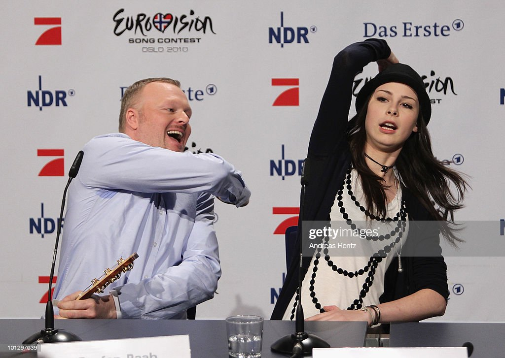 Lena Meyer-Landrut, winner of the Eurovision Song Contest 2010 and TV host Stefan Raab attend a press conference on May 31, 2010 in Cologne, Germany. The 19-year-old Lena won the annual song contest in Oslo with the song 'Satellite', receiving 246 points. After 28 years, Germany has won the Eurovision Song Contest for the second time in the event's history.