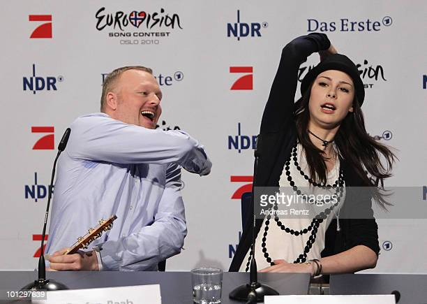 Lena Meyer-Landrut, winner of the Eurovision Song Contest 2010 and TV host Stefan Raab attend a press conference on May 31, 2010 in Cologne, Germany....