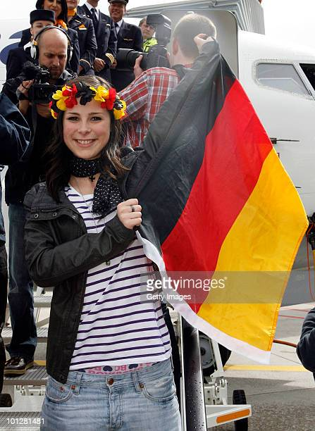 Lena MeyerLandrut winner of the Eurovision Song Contest 2010 jubilates during her arrival at Hanover airport on May 30 2010 in Hanover Germany The...