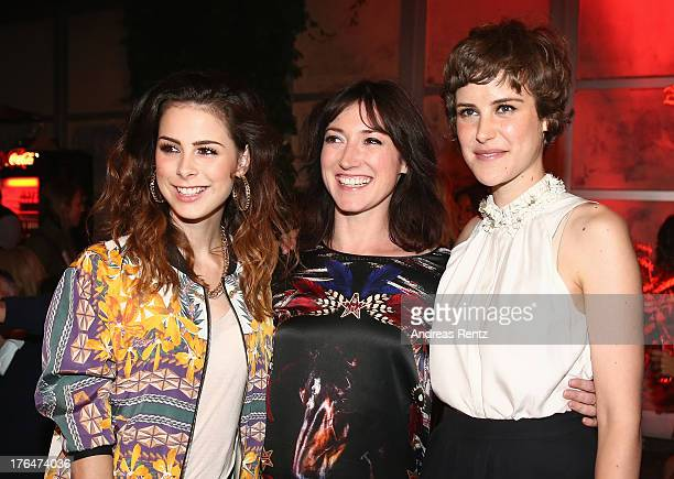 Lena MeyerLandrut writer Charlotte Roche and actress Carla Juri attend 'Feuchtgebiete' Germany Premiere after show party at Gretchen on August 13...