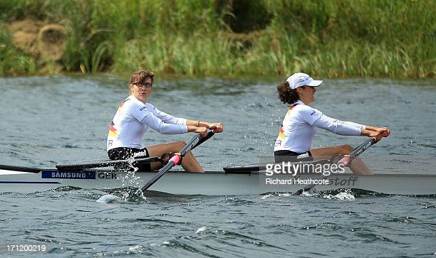 Lena Mueller and Anja Noske of Germany celebrate victory in the Lightweight Women's Double Sculls final during the third day of the 2013 Samsung...
