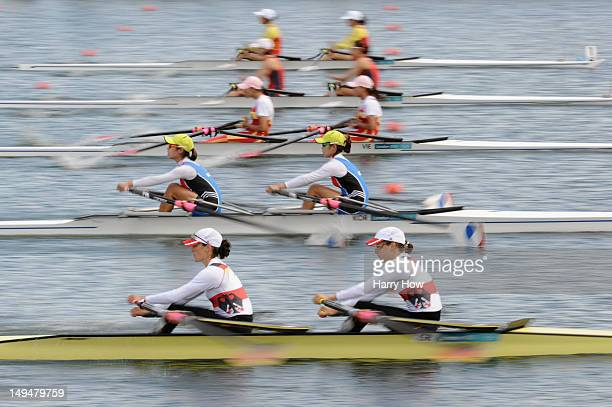 Lena Mueller and Anja Noske of Germany compete in the Lightweight Women's Double Sculls Heats on Day 2 of the London 2012 Olympic Games at Eton...