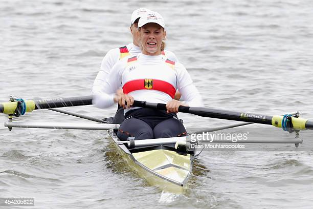 Lena Mueller and Anja Noske of Germany compete in the Lightweight Women's Doubles Sculls race during the 2014 World Rowing Championships at the...