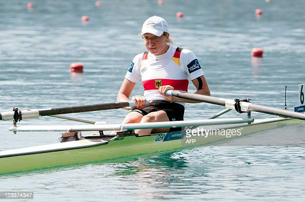 Lena Mueller of Germany competes in the Lightweight Women's Single Sculls final race during day six of the FISA Rowing World Championships at Lake...