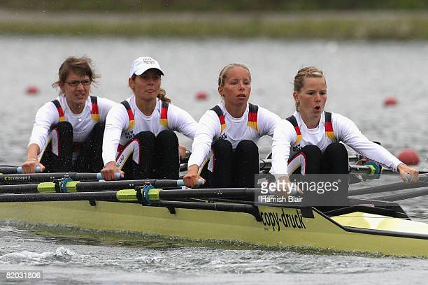 Lena Mueller Stephanie Wagner Anja Foelsch and Katharina Harms of Germany in action during heat 1 of the women's lightweight quadruple sculls during...