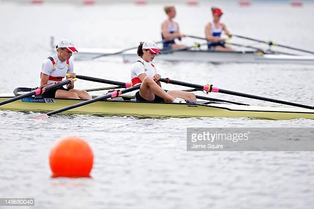 Lena Muller and Anja Noske of Germany react after competing in the Lightweight Women's Double Sculls on Day 6 of the London 2012 Olympic Games at...