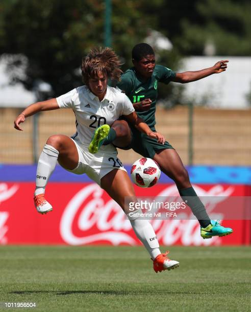 General view with the FIFA Living Football logo during the FIFA U20 Women's World Cup France 2018 group D match between Nigeria and Germany at on...