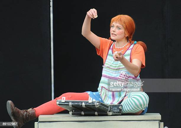 Lena Ottenbacher performs during the play 'Pippi Langstrumpf' at the Thurn and Taxis castle festival on July 19 2009 in Regensburg Germany