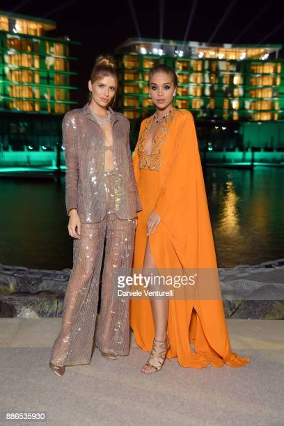 Lena Perminova and Jasmine Sanders attend Grand Opening Bulgari Dubai Resort on December 5 2017 in Dubai United Arab Emirates