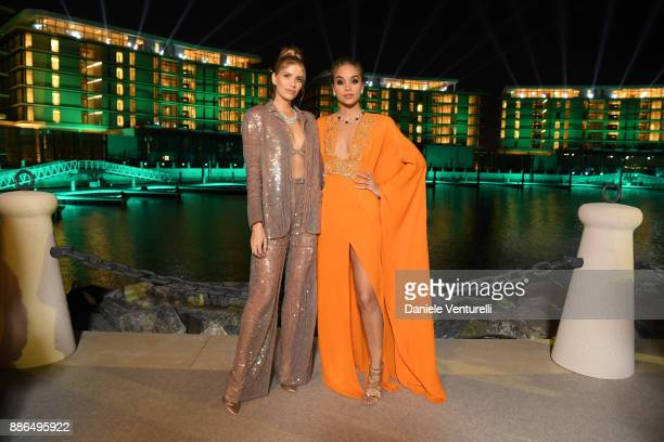 Lena Perminova and Jasmine Sanders attend the Grand Opening of Bulgari Dubai Resort on December 5 2017 in Dubai United Arab Emirates