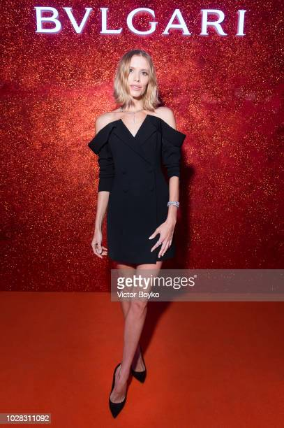 Lena Perminova attends the party in Pashkov House as part of the opening of the Bulgari exhibition at Kremlin Museum on September 6 2018 in Moscow...
