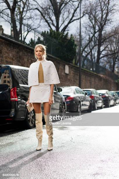 Lena Perminova is seen in the streets of Paris before the Valentino show during Paris Fashion Week Womenswear Fall/Winter 2017/2018 on March 5 2017...