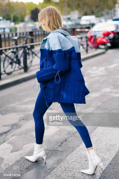 Lena Perminova is seen outside during Paris Fashion Week Womenswear Spring/Summer 2019 on October 1 2018 in Paris France