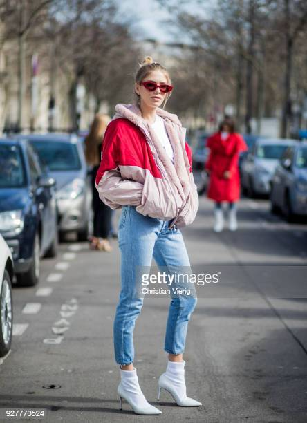Lena Perminova is seen outside Giambattista Valli during Paris Fashion Week Womenswear Fall/Winter 2018/2019 on March 5 2018 in Paris France