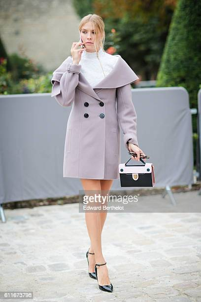 Lena Perminova is seen outside of the Christian Dior show during Paris Fashion Week Spring Summer 2017 at the Rodin museum on September 30 2016 in...