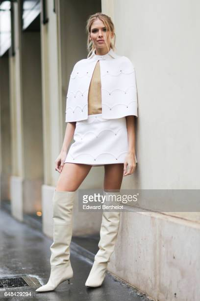 Lena Perminova is seen outside the Valentino show during Paris Fashion Week Womenswear Fall/Winter 2017/2018 on March 5 2017 in Paris France