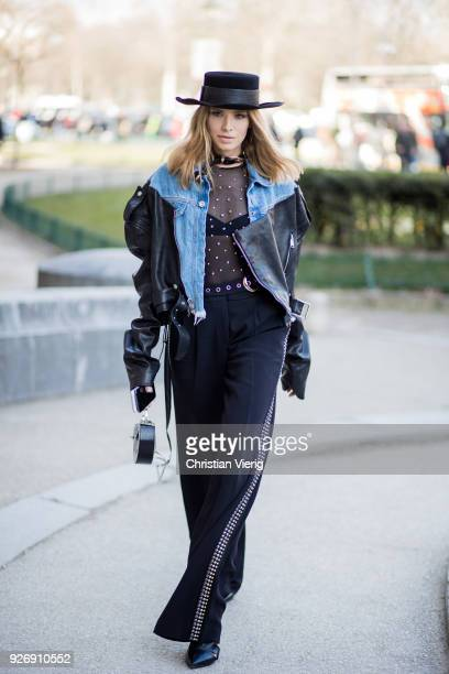 Lena Perminova wearing cowboy hat sheer top denim jacket is seen outside Elie Saab during Paris Fashion Week Womenswear Fall/Winter 2018/2019 on...
