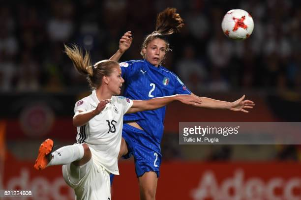 Lena Petermann of Germany and Cecilia Salvai of Italy jump for a eather during the UEFA Women's Euro 2017 Group B match between Germany and Italy at...