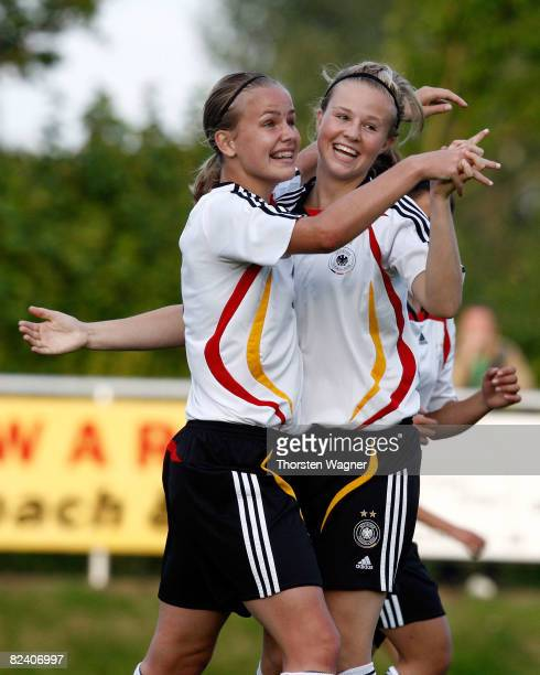 Lena Petermann of Germany celebrates after scoring to 60 during the Women U15 international friendly match between Germany and Scotland at the Mons...