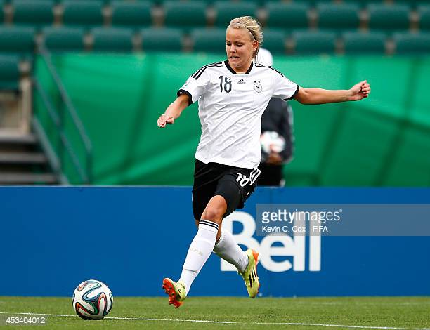 Lena Petermann of Germany in action during the FIFA U20 Women's World Cup Canada 2014 match between China PR and Germany at Commonwealth Stadium on...