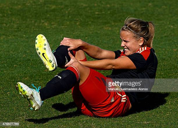 Lena Petermann of Germany reacts on the pitch during the U23 friendly match between England and Germany at la Manga Club on March 3 2014 in La Manga...