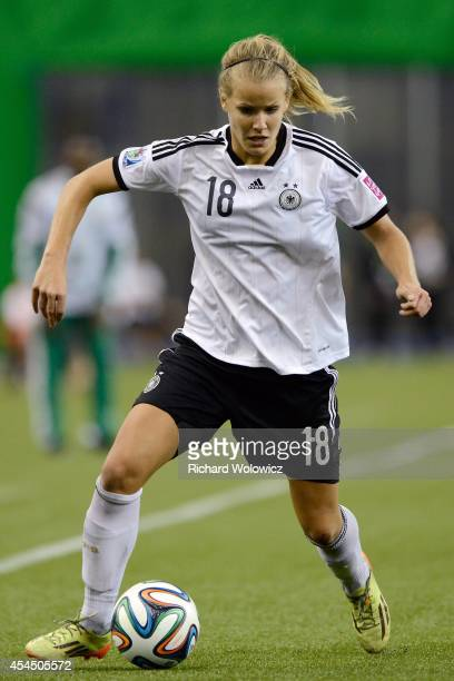 Lena Petermann of Germany runs with the ball during the FIFA Women's U20 Final against the Nigeria at Olympic Stadium on August 24 2014 in Montreal...