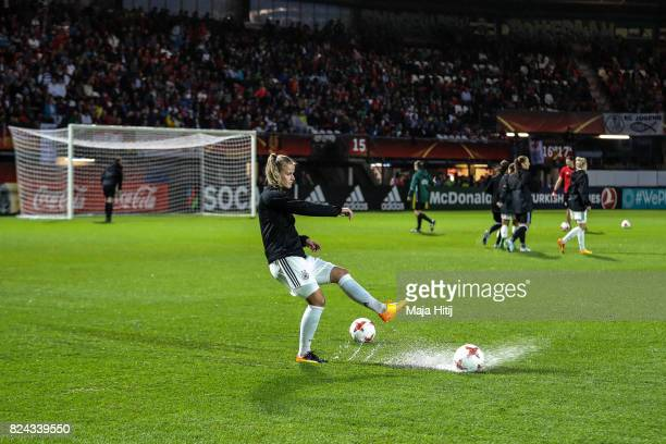 Lena Petermann of Germany warms up prior to the UEFA Women's Euro 2017 Quarter Final match between Germany and Denmark at Sparta Stadion on July 29...
