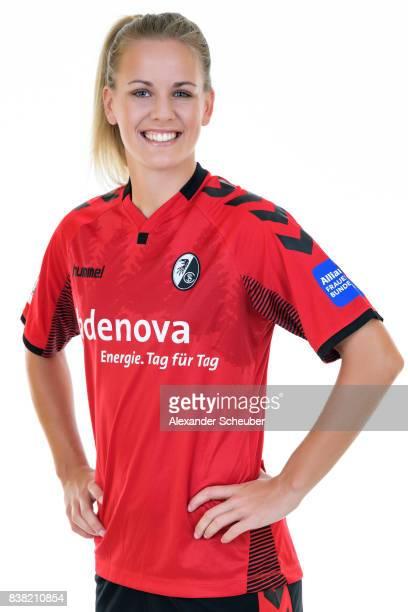 Lena Petermann of SC Freiburg poses during the Allianz Frauen Bundesliga Club Tour at Elbigenalp on August 21 2017 in Elbigenalp Austria
