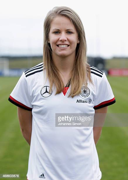 Lena Petermann poses during the team presentation of the German Women's national team at Adi Dassler Stadium on April 4 2015 in Herzogenaurach Germany