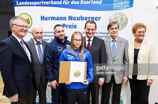 Lena Raubuch , August Leugers-Scherzberg and Kai Klankert of 1. FC Saarbruecken pose with Franz Josef Schumann , Gerd Meyer , DOSB President Alfons...