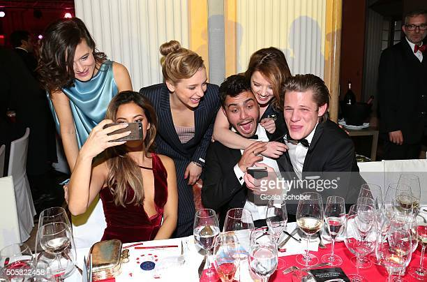 Lena Schoemann, Jella Haase, Gizem Emre, Anna Lena Klenke, Aram Arami, and Max von der Groeben doing a selfie during the German Film Ball 2016 party...