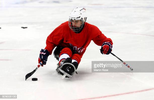 Lena Schroeder of Norway in action during a training session ahead of the PyeongChang 2018 Paralympic Games on March 8 2018 in Gangneung South Korea