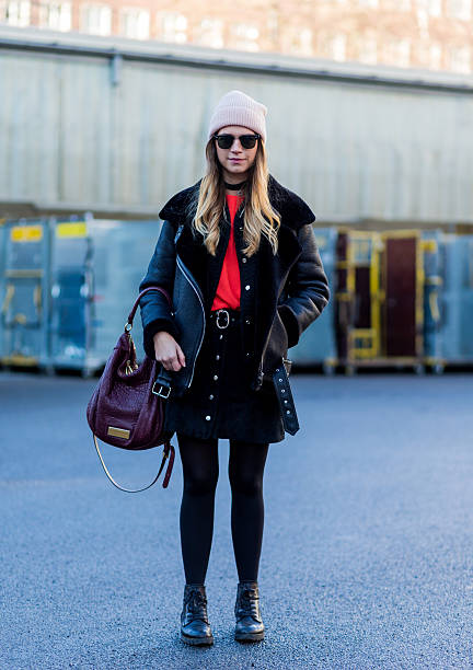 Street style day 2 mercedes benz fashion week berlin a w for Mercedes benz leather jacket