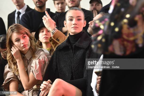 Lena Simonne and Lorena Rae attend the Elie Saab show as part of the Paris Fashion Week Womenswear Fall/Winter 2020/2021 on February 29 2020 in Paris...