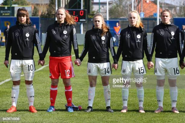 Lena Sophie Oberdorf Goalkeeper Lisa Katharina Klostermann Nina Luehrssen Meret Wittje and Lisa Ebert of Germany line up during the national anthem...