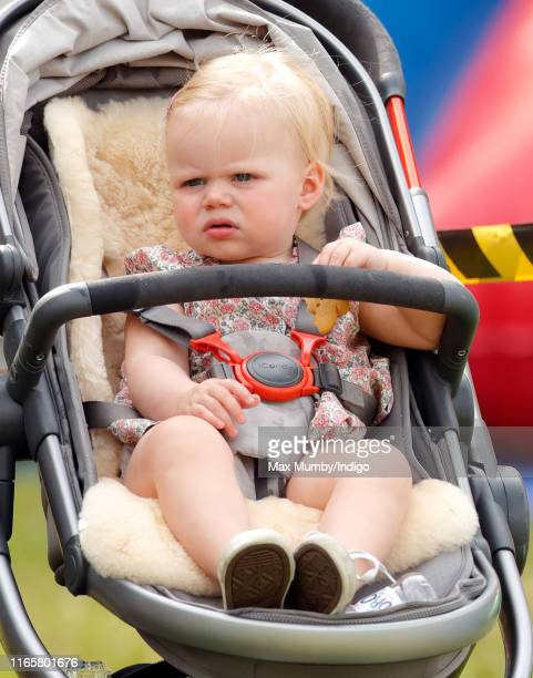 Lena Tindall being pushed in her buggy by her mother Zara Tindall as they attend day 1 of the 2019 Festival of British Eventing at Gatcombe Park on...