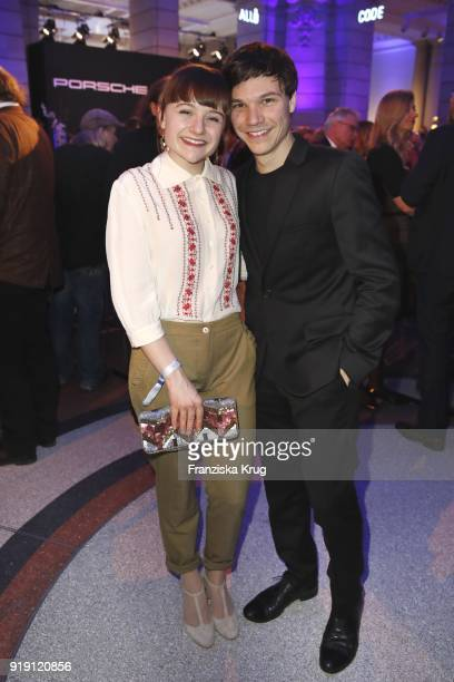 Lena Urzendowsky and Sebastian Urzendowsky attend the Porsche at Blue Hour Party hosted by ARD during the 68th Berlinale International Film Festival...