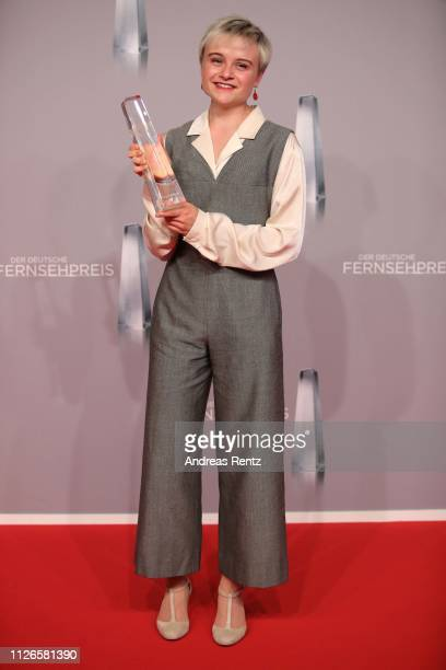 Lena Urzendowsky poses with her award as best newcomer during the German Television Award at Rheinterrasse on January 31, 2019 in Duesseldorf,...