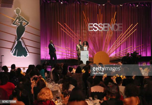 Lena Waithe and Angela Bassett onstage during the 2018 Essence Black Women In Hollywood Oscars Luncheon at Regent Beverly Wilshire Hotel on March 1...